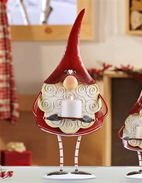 "Metal Red Gnome Santa Freestanding Votive Candle Holder Figurine 17"" High"