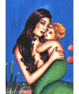 Mommy And Me mermaid woman art print original fantasy fairytale artwork ... - $7.99