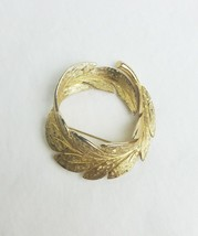Vintage Monet leaf brooch pin gold tone signed - $21.73