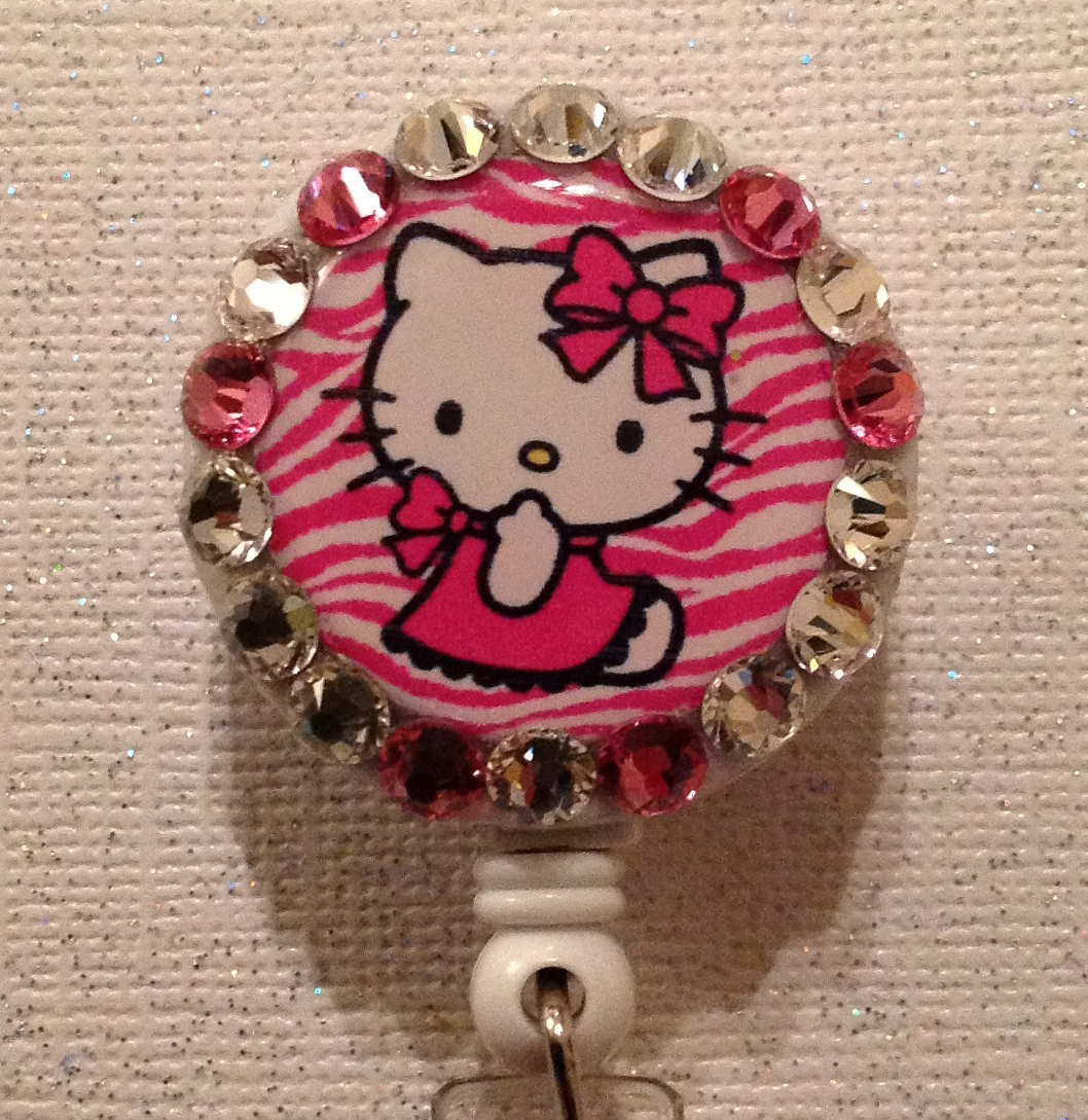 Primary image for Hello Kitty Badge Reel Id Holder Swarovski Crystals Alligator Clip New Pink