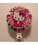 Hello Kitty Badge Reel Id Holder Swarovski Crystals Alligator Clip New Pink - $10.99