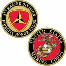 3RD MARINE CORPS DIVISION USMC FIDELITY HONOR VALOR MILITARY CHALLENGE COIN - $16.24