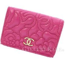 CHANEL Compact Wallet Lambskin Fuschia A70615 Camellia CC Logo Italy Aut... - $844.48