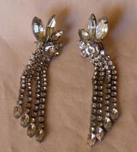 "Pair Vintage 1960s Rhinestone Flourish Silvertone 3"" Dangle Pierced Earr... - $120.00"