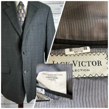 Jack Victor Venice Gray plaid 100% Wool Dual Vented Sport Coat Blazer Me... - $96.22