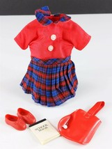 Pepper 9308 Teacher's Pet Red Plaid Jumper Shoes Tote Original 1960s Clo... - $29.69