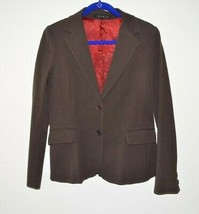 THEORY Womens Brown Blazer Jacket Top size Large L Lined Cotton 2 button... - $24.97