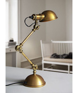 Vintage Atelier Scissor Desk/ Table Lamp Antique Brass Finish E14 Readin... - $142.10