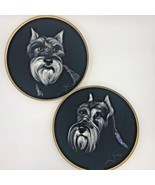 Vintage Schnauzer Dog Painting on Velvet Pair Round Wall Art Signed Gouc... - $74.95