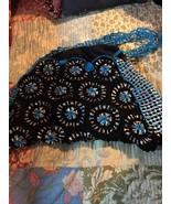 Handmade Fabulous Midnight Black+Lapis Blue Soda Pop Top Crochet  Purse - $39.60