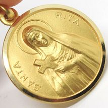 SOLID 18K YELLOW GOLD HOLY ST SAINT SANTA RITA ROUND MEDAL MADE IN ITALY, 17 MM image 4