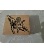 STAMP FRANCISCO USED RUBBER STAMP RO223 M LARGE 3X3.5 ANGELS  - $4.85