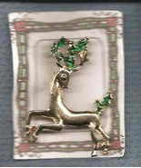 Christmas PIN #0356 Buck Reindeer Goldtone Pin w/Green Holly~running left - $14.80