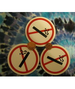 Motorcycle Helmet 3 Pc decals Universal Symbol for NO SMOKING Cigarettes Tobacco - $9.90