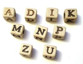 Alphabet Ceramic 7mm Cube Bead, 4mm Hole image 1