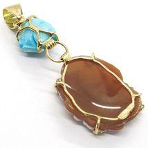 Pendentif en or Jaune 18K 750, Camée Camée, Fée, Fleurs, Rose de Turquoise image 6