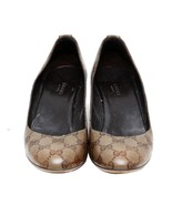 Auth GUCCI Monogram Brown Crystal Coated Canvas Pumps Heel Size 39 US 9 ... - $176.72