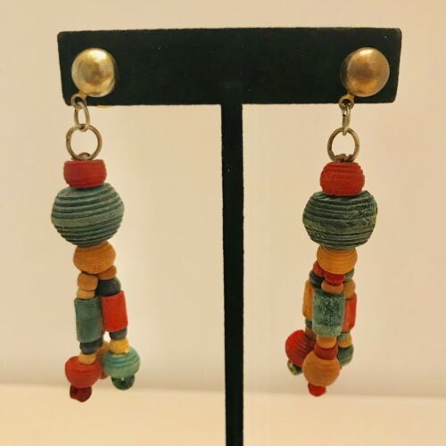 Primary image for Vintage Red & Green Carved Wood Bead Earrings Dangle Drop Stud Earrings J6537