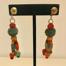 Vintage Red & Green Carved Wood Bead Earrings Dangle Drop Stud Earrings J6537 - $14.24