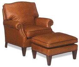 New Chair Wood Leather Non-Removable Leg With Kidney Pillow - $1,909.00