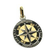 "18K YELLOW WHITE GOLD COMPASS WIND ROSE PENDANT, DIAMETER 1.8 CM, 0.7"", 2 FACES  image 3"