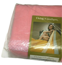 """Vtg Lilco Distributing Dainty Gingham Blanket Made In The USA Pink 72""""x90"""" - $69.29"""