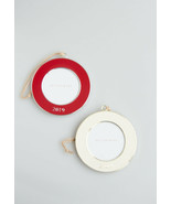 Pottery Barn 2019 dated enamel frame Christmas ornament red white round choose - $20.99