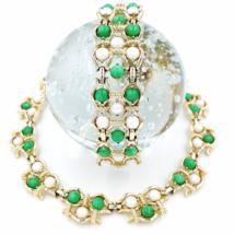 Vintage Marboux Necklace and Bracelet Set Retro Green and Faux Pearl Dem... - $89.00