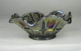 Federal Glass Bowl Pattern Smoke Carnival Iridescent Ruffle Size 1.9 Inches - $34.64