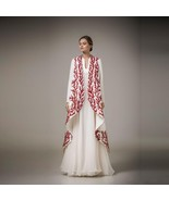 Elegant White And Red Applique Evening Gown - $230.00