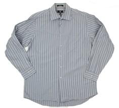 Calvin Klein CK Mens Gray Striped 100% Cotton Dress Shirt Size L 16.5 34/35 - $18.80