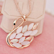 Crystal Opal Cute Swan Style Pendant Gold Chain Sweater Necklace Fashion Jewelry - $12.86