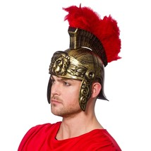 Roman Gladiator Helmet Plastic With Red Feather Plume Adults Fancy Dress - $17.77