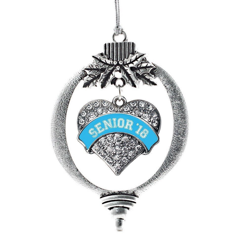 Primary image for Inspired Silver Blue Senior 2018 Pave Heart Holiday Ornament