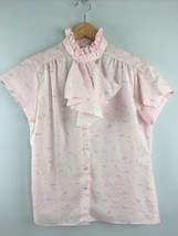 Vtg 70s Womens Blouse 12 Pink Short Sleeve Jabot Ruffle Laura Mae USA Ma... - $24.75