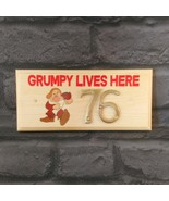 Personalised Grumpy Lives Here Plaque / Sign With Brass Number Shed Dad ... - $11.20