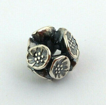 Authentic Trollbeads Sterling Silver Cherry Blossom Bead Charm 11449, New - $39.89