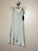 4SI3NNA Cream Polka Dot High Rise Pleated Wrap Midi Skirt Size Small NWT - $29.69