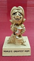 VINTAGE 1970 PAULA FIGURINE W135  WORLD'S GREATEST MOM WITH TROPHY - $6.46