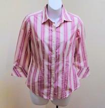 Banana Republic XS Top Pink Tan White Button Down 3/4 Sleeve Shirt Career - $15.66
