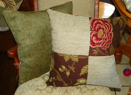 Pair of Green Beige Flower Print Patchwork Print Throw Pillows  18 x 18 - $49.95