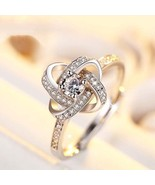 New Collection Color Silver Four Leaf Clover Lucky Ring Clear CZ open Adjus - $24.49