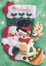 Bucilla Caroling Trio Santa Snowman Deer Felt Holiday Stocking Kit 84189... - $42.95