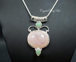 Rose Quartz Necklace - Silver Rose Quartz Jewelry - Handmade Gemstone Ne... - $36.99