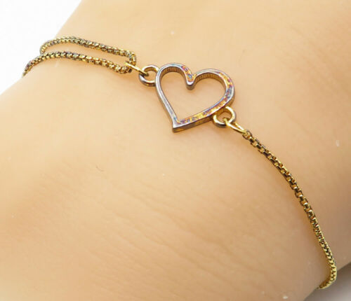 ALEX & ANI 925 Silver - Petite Gold Plated Open Love Heart Chain Bracelet- B4204