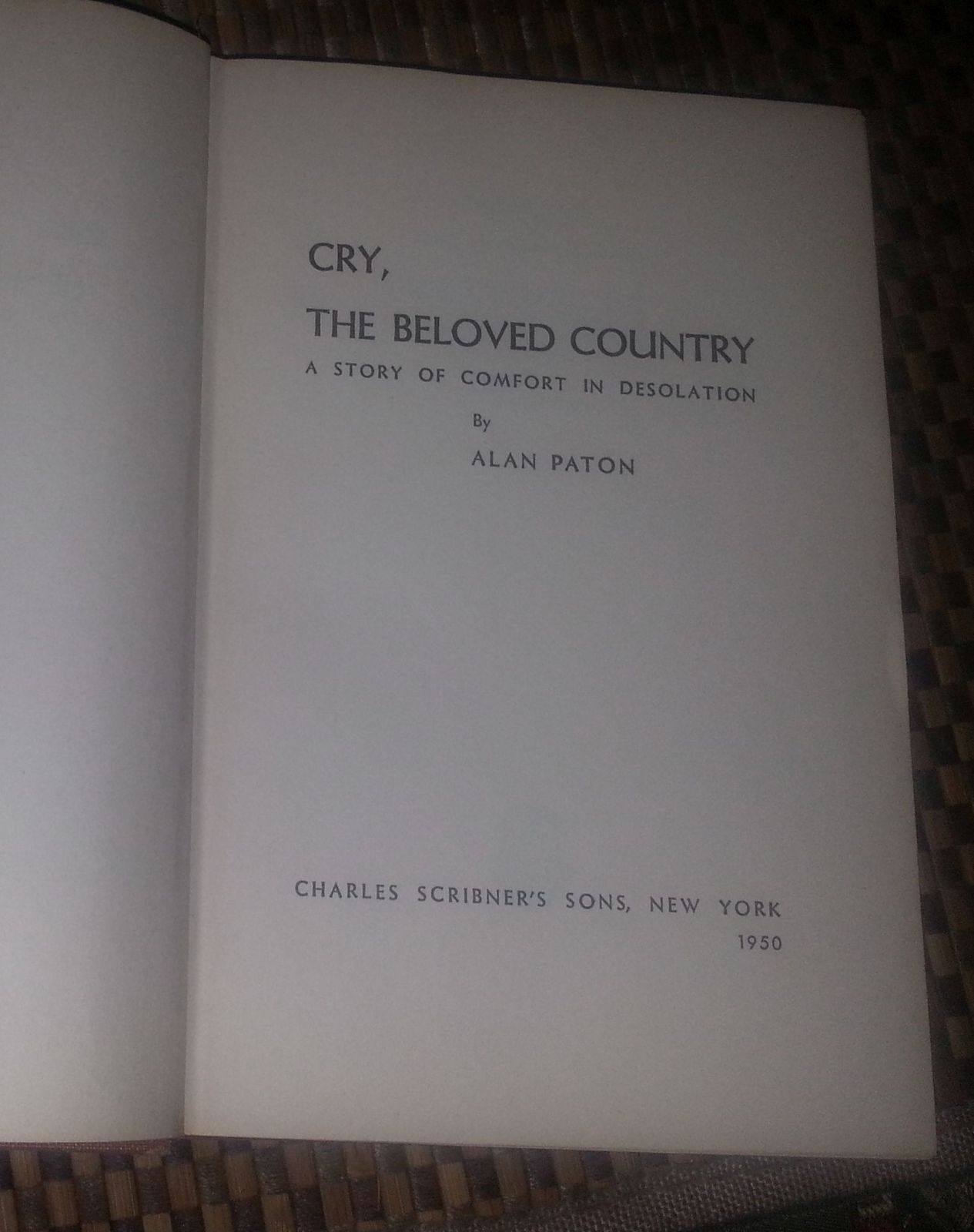Cry, The Beloved Country by Alan Paton 1950 HBDJ Comfort in Desolation