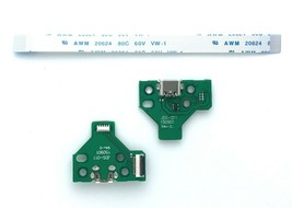 12 Pin USB Charging Port Socket Board with Flex Ribbon Cable for Sony PS... - $16.36 CAD