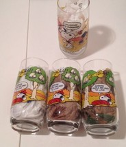 4 Camp Snoopy McDonald's Glasses Charlie Brown Lucy Linus Peanuts 1965 1... - $37.99