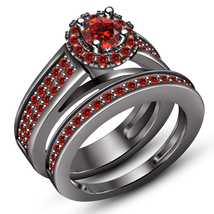 Bridal Wedding Ring Set Round Cut Red Garnet Black Gold Plated 925 Pure Silver - $107.99