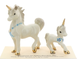 Hagen-Renaker Miniature Ceramic Unicorn Figurine Papa and Baby with Flowers Set